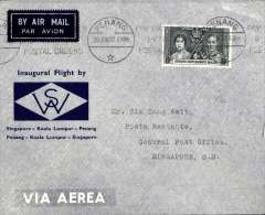 (Malaya) First internal airmail, Penang to Singapore, bs 28/6, official grey/blue company cover franked 8c,  Wearne's Air Services.