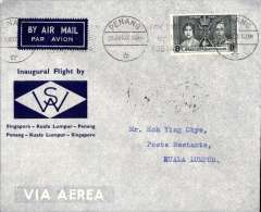 (Malaya) First internal airmail, Penang to Kuala Lumpur, bs 28/6, official grey/blue company cover franked 8c,  Wearne's Air Services.
