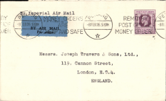 (Singapore) Penang to London by Imperial Airways westbound service # IW311 which left 9/2 on Athena to Karachi, then to Alexandria on Hengist, Scipio to Brindisi, arriving on time at Croydon 18/2 aboard Horatius. Printed commercial cover correctly rated 25c, w.e.f 13/11/1934.
