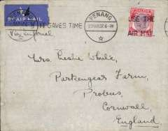 (Interruptions and Accidents) Penang to London by Imperial Airways westbound service # IW534 which left on Atlanta 28/3 for Karachi ,  then 31/3 to Alexandria on Horsa. Left  Alexandria 4/4, one day late DUE TO STRIKE OF LOCAL IMPERIAL AIRWAYS' WIRELESS OPERATORS (see Wingent p4).  Onward by Centaurus arriving one day late at Southampton 5/4.  Plain cover correctly rated 25c (w.e.f 13/11/1934), canc Penang cds, closed flap tear, see scan.. A most uncommon cause of delay, and very difficult to find.