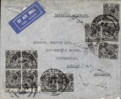 (Singapore) Singapore to London, Imperial Airways duplicate service, franked 50c (16 x 1c and 17 x2c)