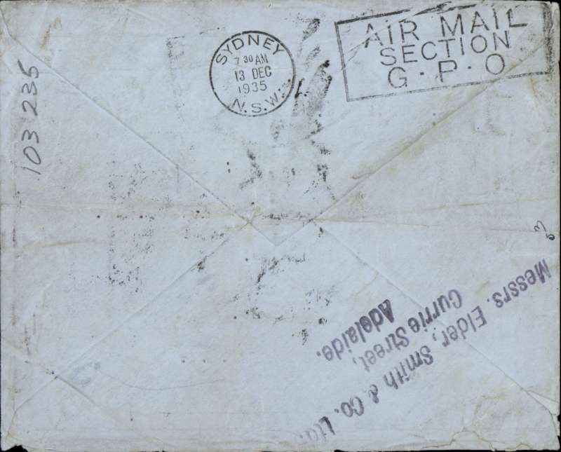 "(GB External) England to Australia, bs Sydney 13/12, airmail etiquette cover franked GB 2/6d seahorse, addressed to passenger on board S/S Kent c/o Sydney agents, nice strike three line ""c/o Messres Elder, Smith & Co/Currie Street/Adelaide"" front and verso. Flown on IAW service 397. The S/S Kent, formerly S/S Santa Teresa was a civilian passenger liner built in 1918."
