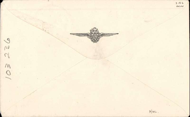 """(Australia) Qantas 'Liberator' Kangaroo Service, F/F Sydney to Colombo, 1/12 arrival ds on front, Qantas company cover with company logo on flap, franked 1/6d, canc Sydney Air 29 No 45, typed """"First Sydney-Colombo service/Qantas 'Liberator' Kangaroo Service"""", signed by pilots Captains J.A.Furze and H.T.Howse."""