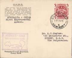 """(Australia) Survey flight Catalina Flying Boat, Sydney to Valparaiso 26/3,  uncommon official OHMS envelope franked 5/-, superb strike  14 line violet """"Australia-Chile First Experimental Air mail"""" cachet, verso hs listing route flown and crew members, airmail cover, RAAF"""