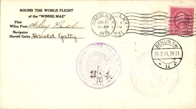 "(United States) Post and Gatty Round the World flight in ""Winnie Mae"", cancelled Mineola, New York, June 21, Berlin Jun 24,  and Mineola Jul 1 return arrival ds, all cancellations are on the front of the cover, also two magenta Russian hand stamped seals. Signed by Post and Gatty. Also three photos of plane & flyers. A superb lot in pristine condition."