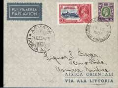 (Somaliland Protectorate) First flight Berbera to Asmara, 21/12 arrival ds on front, pale blue/grey 'Africa Orientale/via Ala Littoria' envelope correctly franked Somaliland Protectorate 7 annas canc Berbera 18 De 1935 cds. A very scarce cover, see Mentgen p6