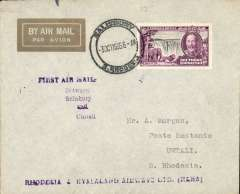 (Southern Rhodesia) Rhodesia and Nyasaland Airways, F/F internal flight, Salisbury to Umtali, bs 3/10, attractive gold imprint etiquette airmail cover franked 6d, canc Salisbury cds, violet five line 'First Air Mail/Between/Salisbury/and/Umtali' and single line 'Rhodesia & Nyasaland Airways Ltd (RANA)' cachets.