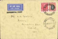 """(Southern Rhodesia) Bulawayo to Cape Town, bs 21/12, carried on Imperial Airways first England-South Africa experimental Christmas flight, Springbok souvenir cover franked 5d, black st line """"Experimental Flight"""" cachet."""