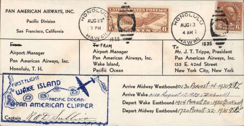 (Wake Island) Pan Am Wake Island Survey cover, Honolulu-Midway -Wake Island and return,  scarce large envelope format - only 4 or 5 seen in this style - signed by pilot R.O.D. Sullivan and station managers on Midway and Wake Islands. Identical cover retailing at 1000+ USD.