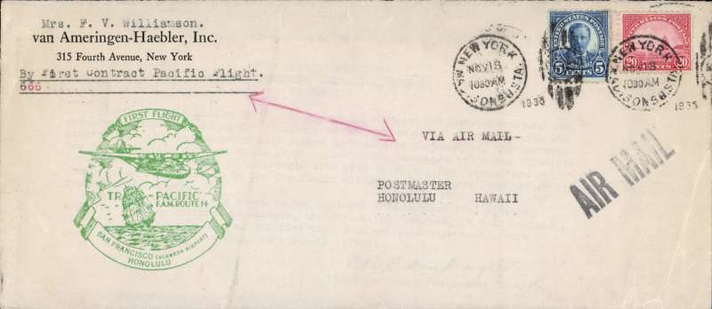 (United States) Uncommon 'Outer Envelope 'First Transpacific airmail flight, San Francisco to Honolulu, bs 23/11, commercial corner cover franked 50c ordinary, canc New York/Nov 18/1935 duplex, good strike green F/F cachet. Shortage of 25 'Clipper' stamps led to the production of 'outer envelopes' which were returned to dispatchers and are regarded as a legitimate inclusion in a Pacific collection (for a full explanation see p140, US AMC Vol 3). The lot also contains the original communication from the POD, Washington enclosed with the returned 'Outer Envelope'.