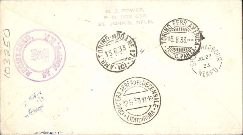 (Newfoundland) General Balbo, rare early trans-Atlantic flight , Newfoundland to Rome, bs 15/8/33, carried by the Italian Armada from St. John's, Newfoundland 26/7/33, via Shoal Harbour, 27/7, airmail etiquette cover franked with specially overprinted $4.50 Newfoundland airmail stamp tied by a St. John's cds, fine strike of the official blue circular flight cachet. A rare item in fine condition.      Canada: Newfoundland: 1933 Balbo $4.50 on 75c. tied by St. Johns ''26 JUL/33'' c.d.s. to envelope to Rome, endorsed ''Per General Balbo Flight'' with blue-green flight cachet, backstamped Shoal Harbour July 28 and Lido di Roma receiving datestamp. £250 - £300