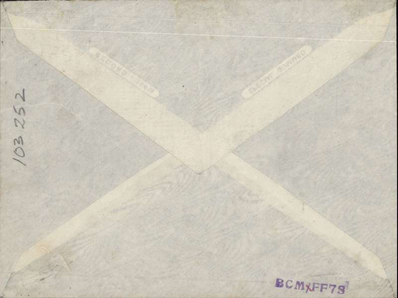 """(Sudan) Return of RAF test flight from Khartoum to Abu Suwer, 17 Jan 1926 arrival hs on front, signed by pilot V.C.Stonar, plain cover, violet three line """"By Return of/Special Flight/Cairo to Khartoum"""" and violet """"Khartoum 15/1/25"""" hs's. This flight was undertaken by RAF Squadron No. 47 as a test of the Fairey IIID aircraft equipped with the Napier Lion engine, and as a prelude to the Cairo-Cape Town flight planned for later in the year. Little is known about this flight, and only 35 covers were carried on the return flight.  Francis Field authentication hs verso. A 200 word account by Bill Coley can be found in  Air Mail News, No 158, p129."""