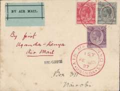 "(Uganda) East African Experimental Air Mail service by T.A.Gladstone, Jinja to Nairobi, 14/2, via Kisumu 12/2, red double ring Uganda cachet insead of normal postmark and also red ""Keyna-Sudan Air Mail Fe 12"" cachet verso, a combination unique to this stage of the flight. Newall quotes only 4 flown. A fine and rare item in pristine condition - exactly as illusrated in Newall, page 85. A similar cover realised £550 plus 15% commission at Harmers, London, May 1997."