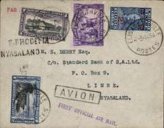 "(Belgian Congo) First acceptance of mail from the Congo for Nyasaland, bs Limbe 9/3, via Broken Hill 8/3, and Blantyre 9/3, plain pale grey cover franked 3F airmail plus 2.5F overseas postage, canc Elisabethville cds, black boxed 'Avion' hs, violet st line  ""First Official Air Mail"" cachet, black ""S.Rhodesia-Nyasaland"" hs, black boxed 'Avion' hs. Carried from Elisabethville to Broken Hill by Aero Club de Katanga, then to Salisbury by Imperial Airways, then Salisbury-Blantyre on the return F/F of the new RANA service. A rare item in fine condition. Only 4 flown, see Godinas F, 1951, p133."