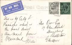 "(Nyasaland) First direct external flight from Nyasaland, PPC franked 1s 2d, canc Limbe/31 May 33, violet st. line 'First Flight' cachet, addressed to London with message ""This is by City of Karachi which is the first direct Air Mail from Nyasaland"". The first OFFICIAL airmail from Nyasaland to an external destination was arranged for June 5th from Zomba to Fort Jamieson, N Rhodesia, to be flown by an RAF service flight on their return to UK after attending the Nyasaland Air Week. Official souvenir covers were issued and a postage rate set of 1/- per 1/2oz. However, quite unexpectedly on June 1st' the Imperial Airways liner 'City of Karachi' returned to Salisbury thereby offering an immediate connection with the IAW northbound Cape Town-London service. So, at very short notice, a SPECIAL  flight by the 'City of Karachi' was arranged between Zomba and Salisbury to collect UK mail in particular for OAT to 