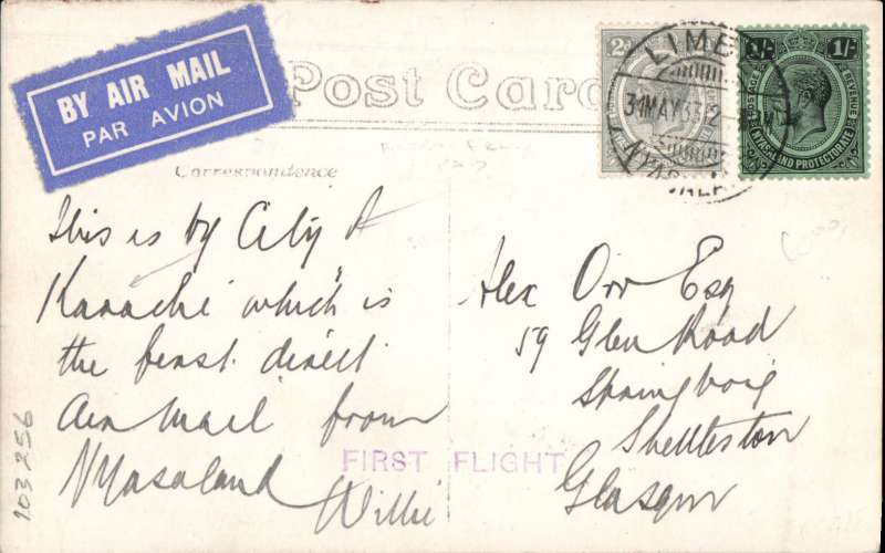 """(Nyasaland) First direct external flight from Nyasaland, PPC franked 1s 2d, canc Limbe/31 May 33, violet st. line 'First Flight' cachet, addressed to London with message """"This is by City of Karachi which is the first direct Air Mail from Nyasaland"""". The first OFFICIAL airmail from Nyasaland to an external destination was arranged for June 5th from Zomba to Fort Jamieson, N Rhodesia, to be flown by an RAF service flight on their return to UK after attending the Nyasaland Air Week. Official souvenir covers were issued and a postage rate set of 1/- per 1/2oz. However, quite unexpectedly on June 1st' the Imperial Airways liner 'City of Karachi' returned to Salisbury thereby offering an immediate connection with the IAW northbound Cape Town-London service. So, at very short notice, a SPECIAL  flight by the 'City of Karachi' was arranged between Zomba and Salisbury to collect UK mail in particular for OAT to  London. So, although UNOFFICIAL, this flight then became the first airmail from Nyasaland to an  external destination. No special cancellation/cachet was provided, and the only way of identifying  covers from this flight are the '31 May 33' postmark and the new, hastily arranged, 1s 2d rate for UK  mail. For this reason such covers are very scarce. A fine exhibit item. An explanatory 300 word text is  included."""