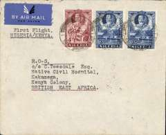 "(Nigeria) First Through Airmail from Nigeria to Kenya, Makurdi in Nigeria to to Kakamega in Kenya,  via First West Africa Feeder service from Kano to Khartoum, then IAW Cape Town-England service to Kisumu, then Wilson Airways Kisumu-Nairobi feeder service, plain etiquette air cover, franked 10d, backstamped  Makurdi 11/2, Khartoum 18/2 , Kisumu 20/2 and Kakamega 21/2,  typed "" First Flight/Nigeria-Kenya"". One of only three covers known to have been flown to Kenya. A rare item, see Priddy, 'West African Airmails', p19."