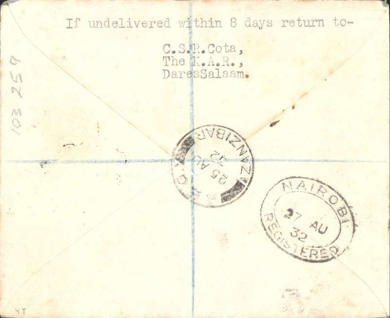 (Zanzibar) Second flight return feeder sevice Zanzibar to Nairobi, bs 27/8, airmail etiquette registered (hs) Cota cover correctly franked 75c (20c combined airmail fee plus 55c registration, Wilson Airways. A nice example of a scarce registered cover from this service.