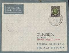 (Somaliland Protectorate) First flight Berbera to Djibouti, bs 19/12, pale blue/grey 'Africa Orientale/via Ala Littoria' envelope franked Somaliland Protectorate 7 annas canc Berbera 18 De 1935 cds. A very scarce cover, see Mentgen p6