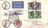 (Recovered Interrupted Mail) Scarce accelerated emergency mail, Imperial Airways inaugural Cape Town-London service, carried by 'City of Baghdad'  from Broken Hill to Athens, bs 13/2, via Nairobi 3/2 transit cds verso, blue/orange/white Robertson souvenir cover franked 11d, canc Broken Hill 29 Jan 1932 cds. Due to the delay of the ill fated first service from Cape Town, the 'City of Baghdad' waited at Broken Hill until February 2nd, when it took off via Mpika, Dodoma, and Moshi, arriving Nairobi 3/2. This accelerated emergency mail, backstamped between February 2nd and 4th is of considerable rarity, and of unusual interest to aerophilatelists in that it anticipated the first mails from points south of Broken Hill by several days..
