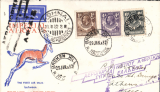 (Northern Rhodesia) Scarce accelerated emergency mail, Imperial Airways inaugural Cape Town-London service, carried by 'City of Baghdad'  from Broken Hill to Athens, bs 13/2, via Nairobi 3/2 transit cds verso, blue/orange/white Robertson souvenir cover franked 11d, canc Broken Hill 29 Jan 1932 cds. Due to the delay of the ill fated first service from Cape Town, the 'City of Baghdad' waited at Broken Hill until February 2nd, when it took off via Mpika, Dodoma, and Moshi, arriving Nairobi 3/2. This accelerated emergency mail, backstamped between February 2nd and 4th is of considerable rarity, and of unusual interest to aerophilatelists in that it anticipated the first mails from points south of Broken Hill by several days..
