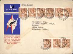 (Northern Rhodesia) Northern Rhodesia acceptance for Australia, Mpika to Lombok Island,NEI,  bs 20/12,  via Cairo 10/12, carried on F/F IAW extension of London-Singapore service to Australia, franked 1/6d, red/white/blue official Imperial Airways/Qantas cover. Scarce item in fine condition.