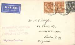 (Northern Rhodesia) F/F Mpika to London, carried on the first regular flight from Cape Town to London, plain cover franked 2d ordinary plus 8d airmail fee, violet three line 'By Imperial Airways/First Flight/Mpika to London' cachet, Imperial Airways. Flight interrupted at Broken Hill.