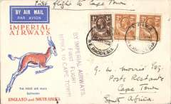 (Northern Rhodesia) Imperial Airways F/F Mpika to Cape Town, bs 2/2, carried on first regular flight from London-Cape Town, violet three line cachet 'By Imperial Airways/First Flight/Mpika to Cape Town', Springbok cover.