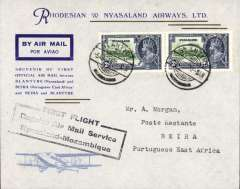 "(Nyasaland) F/F Blantyre to Beira, black boxed ""First Flight Regular Air Mail Service Nyasaland-Mozambique"", bs 5/8, Rhodesia and Nyasaland Airways official souvenir cover, correctly rated 4d with Nyasaland Silver Jubilee 2d x2."