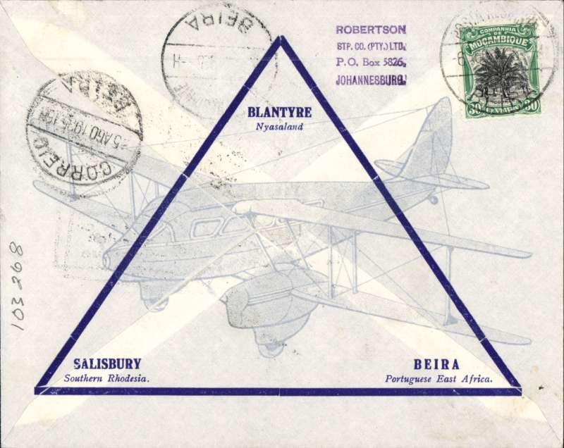 "(Nyasaland) F/F Blantyre to Beira, black boxed ""First Flight Regular Air Mail Service Nyasaland-Mozambique"", bs 5/8,  Rhodesia and Nyasaland Airways official souvenir cover, correctly rated 4d with Nyasaland 3d & 1d Silver Jubilee."