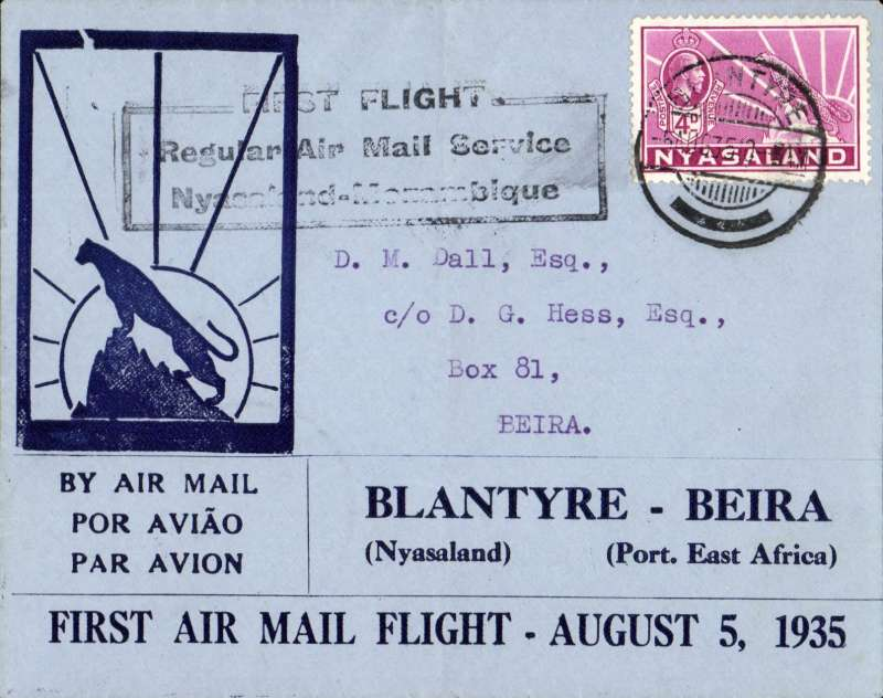 "(Nyasaland) F/F Blantyre to Beira, black boxed ""First Flight Regular Air Mail Service Nyasaland-Mozambique"", bs 5/8, souvenir ""Leopard"" cover issued by the Blantyre Publishing Company, correctly rated 4d, Rhodesia and Nyasaland Airways."