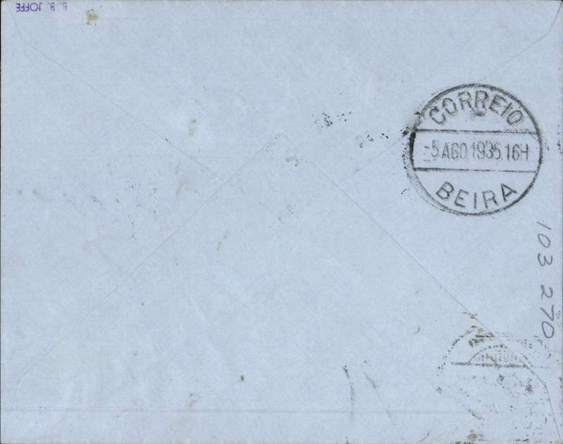 """(Nyasaland) F/F Blantyre to Beira, black boxed """"First Flight Regular Air Mail Service Nyasaland-Mozambique"""", bs 5/8, souvenir """"Leopard"""" cover issued by the Blantyre Publishing Company, correctly rated 4d, Rhodesia and Nyasaland Airways."""