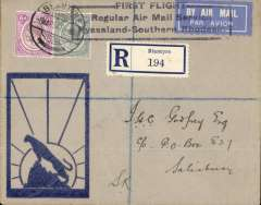 "(Nyasaland) Rhodesian & Nyasaland Airways, Blantyre to Salisbury service, F/F Blantyre to Salisbury 8/3, via Blantyre 6/3 ds, reg Godfrey Leopard on Rock"" printed cover, franked 8d, black boxed three line ""First Flight Regular Air Mail Service Nyasaland-Southern Rhodesia"" cachet,"