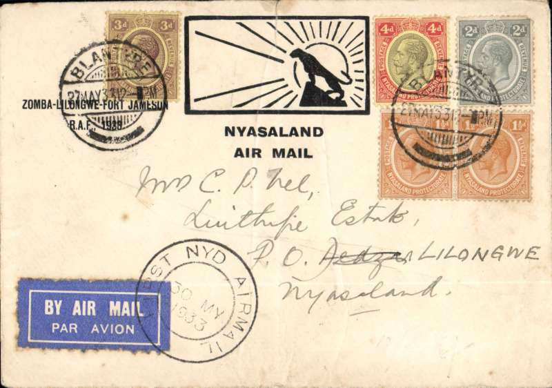 """(Nyasaland) Special RAF Sqn. 6 flight, Zomba to Lilongwe, bs 30/5, black/white Major Green souvenir cover with leopard and rising sun and """"Zomba-Lilongwe-Fort Jamieson RAF, 1933"""" text, also temporary special relief cachet """"First NYD Airmail"""" (ref A Philatelic handbook of Nyasaland 1859-1964, Hillman), airmail etiquette cover franked 1/6d canc Zomba cds. A little worn, but good cancellations."""
