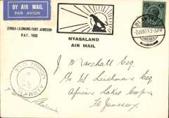 "(Nyasaland) Special RAF Sqn. 6 flight, Blantyre to Fort Jamieson, b/s 6/6, special black/white Major Green souvenir cover with leopard and rising sun and ""Zomba-Lilongwe-Fort Jamieson RAF, 1933"" text, special black/white Major Green souvenir cover with leopard and rising sun and ""Zomba-Lilongwe-Fort Jamieson RAF, 1933"" text, franked 1/- (correct rate), canc Blantyre 2 Jun cds, special cachet ""NYD NRHOD AIRMAIL/5 JU 1933"" cachet applied at Zomba. A similar cover is illustrated in Newall 2nd Edition, p159.  Ironed vertical crease."