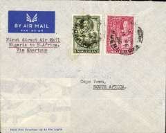 (Nigeria) First Direct Airmail to South Africa via First West Africa Feeder service from Kano to Khartoum, air cover, franked 1/1d, posted Kano, 15/2, to Cape Town, House of Parliament 24/2 bs, via Khartoum 18/2, typed 'First Direct Airmail Nigeria to South Africa via Khartoum', pale grey imprint etiquette official envelope with transparent lower left section depicting aircraft.  Carried on two linked Imperial Airways flights WAN2 and AS 318, see Wingent. Rare test letter. Francis Field authentication hs verso.
