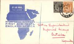 (Kenya) Interrupted first northbound flight, Kisumu to Butiaba, bs 18/3, via Kampala 11/3, carried on return of inaugural London to East Africa service, Imperial Airways/Airways House circular cachet verso. 'City of Kampala' was delayed, so stop at Butabaia was cancelled and mail returned to Kampala, and eventually reached Butabaia on the second northbound flight.
