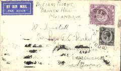 (Kenya) Nairobi to Tananarive, bs 4/8, Tunstall cover franked 2/- + 20c carried by Lefevre and Assolant on the F/F of the Service de la Navigation Aerienne de Madagascar from Broken Hill to Madagascar, see Saulgrin p169. Scarce item. Some smudging along lower front edge from over inking of overlying cover.