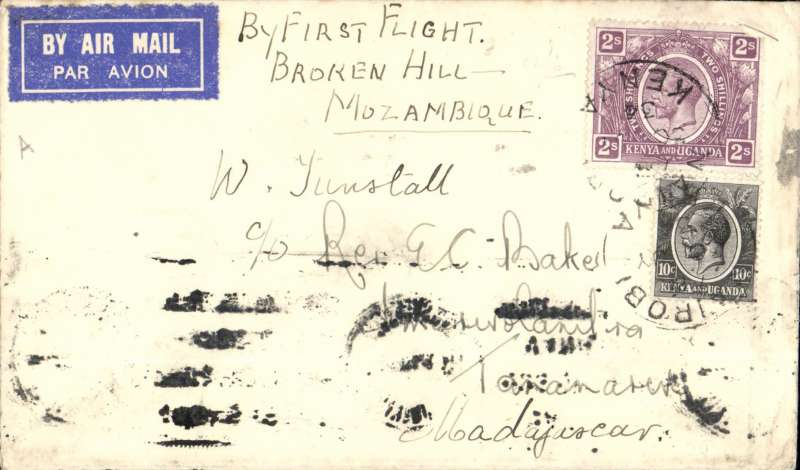 (Scarce and Unusual Routings) Scarce First Flight, Kenya to Madagascar, NAIROBI to TANANARIVE, bs 4/8. Posted Nairobi 30/7 for carriage on the  IMPERIAL AIRWAYS AFRICA SOUTHBOUND SERVICE AS178,  departed 31/78 on  'Helena' and arrived Broken Hill 1/8 where it was transferred to the REGIE MALGACHE FIRST FLIGHT TO TANANARIVE flown by Lefevre and Assolant, arriving 4/8. Plain TUNSTALL cover, FRANKED S2.10 for the new air rate . Super item, ex the Ted Proud collection.. Some smudging along lower front edge from over inking of overlying cover. Hence reduced estimate. Would normally realise c £80.