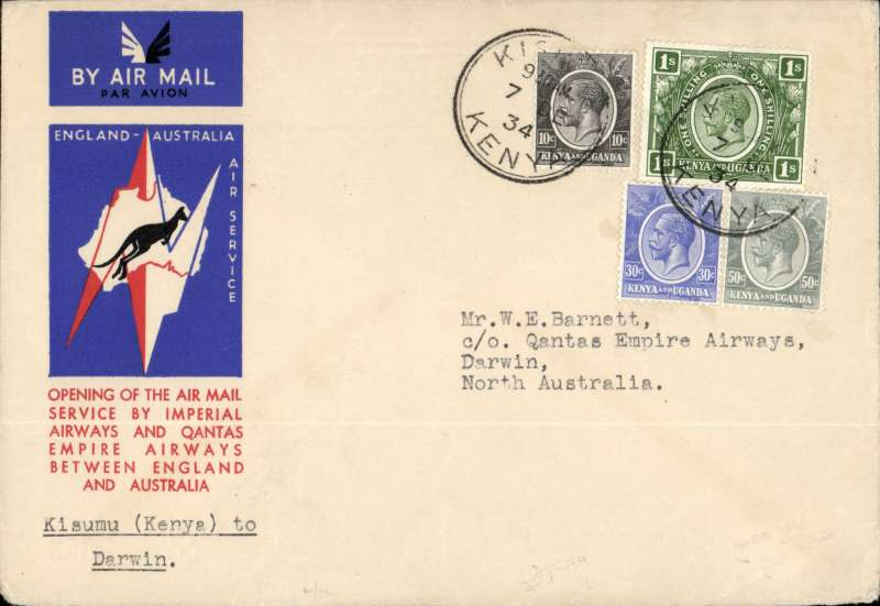 (Kenya) Kisumu to Australia, bs Darwin 19/12, via Cairo 10/12, first acceptance of African 'all the way' airmail for Australia for carriage on the Imperial Airways  African service to Cairo, to connect with the first extension of the IA/ITCA/Qantas service from Singapore to Brisbane, official 'Kangaroo' cover franked 1/- and  90c.