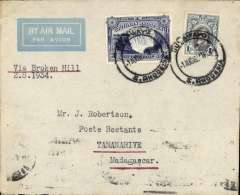 "(Southern Rhodesia) First dispatch of mail from S. Rhodesia to Portuguese East Africa, Bulawayo to Tananarive b/s 4/8, Imperial Airways 'winged logo' cover, franked 1/3d, typed ""Via Broken Hill"". Carried by Imperial AW to Broken Hill, then by LeFevre and Assolant on the new Franco-Belgian 'Broken Hill-Madagascar' service. For good references see Morton 2005."