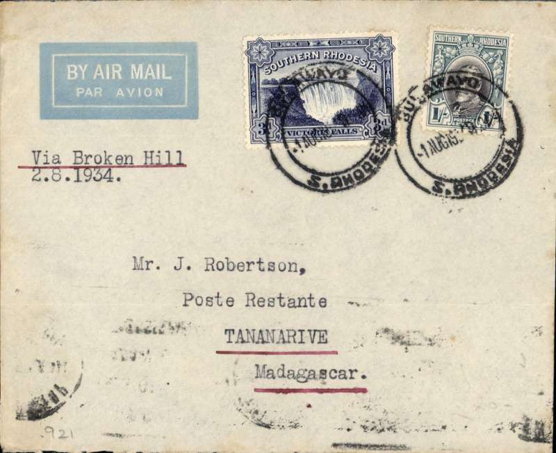 """(Southern Rhodesia) First dispatch of mail from S. Rhodesia to Portuguese East Africa, Bulawayo to Tananarive b/s 4/8, Imperial Airways 'winged logo' cover, franked 1/3d, typed """"Via Broken Hill"""". Carried by Imperial AW to Broken Hill, then by LeFevre and Assolant on the new Franco-Belgian 'Broken Hill-Madagascar' service. For good references see Morton 2005."""