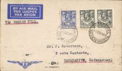 """(Southern Rhodesia) First dispatch of mail from S. Rhodesia to Portuguese East Africa, Bulawayo to Tananarive b/s 4/8, Imperial Airways 'winged logo' cover with Robertson hs on flap, franked 1/3d, typed """"Via Broken Hill"""". Carried by Imperial AW to Broken Hill, then by LeFevre and Assolant on the new Franco-Belgian 'Broken Hill-Madagascar' service. For good references see Morton 2005."""