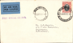 """(Southern Rhodesia) F/F Bulawayo to Salisbury, bs 28/1, carried on 1st regular Cape Town to London service, black st. line """"First Official Air Mail"""" cachet, plain cover franked 4d."""