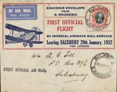 "(Southern Rhodesia) F/F Bulawayo to Salisbury, bs 28/1, carried on 1st regular Cape Town to London service, black st. line ""First Official Air Mail"" cachet, attractive red/grey/blue souvenir cover with biplane and 'First Official Flight/Leaving Salisbury 29th January, 1932',  franked 4d."