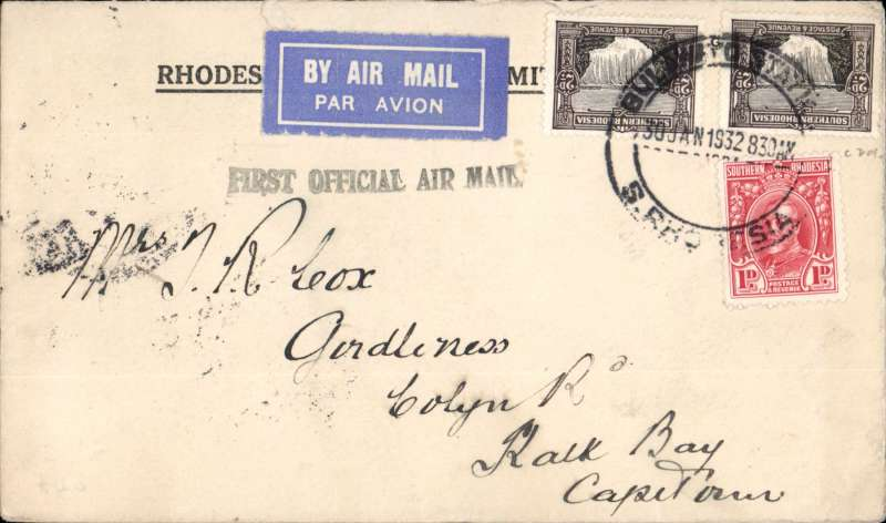 "(Southern Rhodesia) F/F Bulawayo to Cape Town, bs 2/1, via Jo'burg 1/2, carried on 1st regular Croydon-Cape Town service, black Bulawayo st. line ""First Official Air Mail"" cachet, Imperial Airways. Some flap loss verso."
