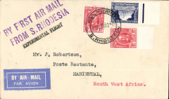 (Southern Rhodesia) F/F Bulawayo to Mariental (SWA) bs 21/12, via Johannesburg 21/12, carried to Jo'burg, bs 21/12, by IAW and on to Keetmanshoop by SWA, fine strike purple two line 'By First Air Mail/From S. Rhodesia'. Attractive item.