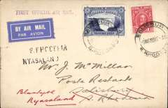 (Southern Rhodesia) RANA F/F Salisbury to Blantyre, bs 9/3, plain cover franked 4d, black two line 'S.Rhodesia/Nyasaland' and purple 'First Official Air Mail' cachets.