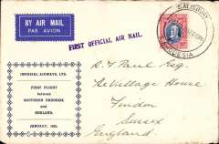 (Southern Rhodesia) Imperial Airways interrupted flight first flight Salisbury to London, uncommon and attractive souvenir cover franked 10d, Carried on the first regular flight Cape Town-London. En route from Salisbury the City of Delhi had to make an emergency landing due to bad weather near Broken Hill. The mail was transferred to the City of Baghdad, and the mail arrived in Athens 13 days later than scheduled. Interesting.