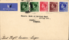 "(GB External) F/F London to Lagos on first Kano-Lagos extension of London-Nigeria service, typed endorsement ""First Flight Air Mail to Lagos"", bs 22/10, Imperial Airways"